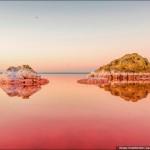 ローズ・ピンク色の湖面が美しい クリミア半島にある塩湖