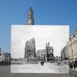 現在の町並みに第一次世界大戦に撮影されたモノクロ写真を重ねて撮影したタイムスリップフォト