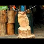 チェーンソーのみで太い丸太をフクロウの彫刻に変化させる達人芸