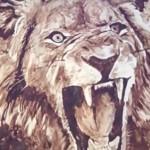 スプーンとチョコレートソースで描く本物ソックリなライオン