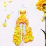 花びらで作られたエレガントなドレスのデザイン案