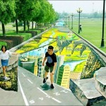 史上最大規模のアート 公園の歩道に描かれたトリックアート